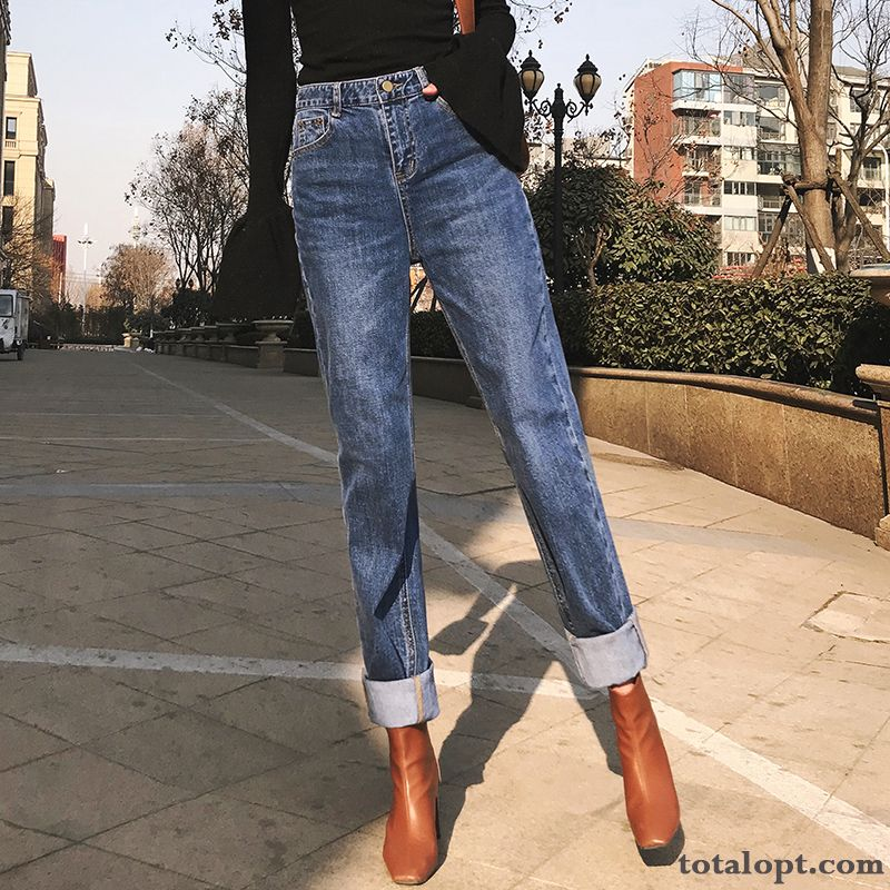 Cheap Straight High Waist New Pants Europe Red Women's Spring Blue Jeans Loose Crimping Cherry Rosybrown