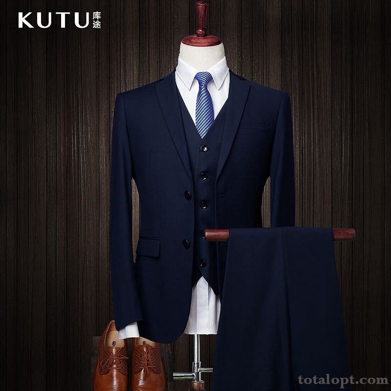 Cheap Suit Dress Men's Slim Europe Professional Wedding Rainbow Navy