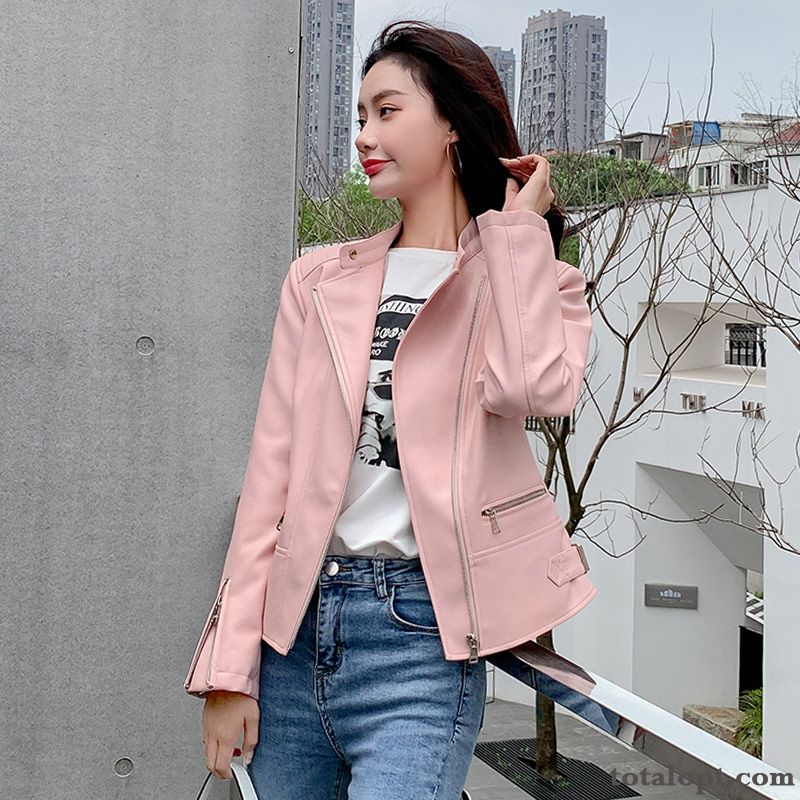 Cheap Suit Leather Short Autumn Slim Jacket Women's Europe New Coat Trend Spring Pink Royalblue Rose Violet
