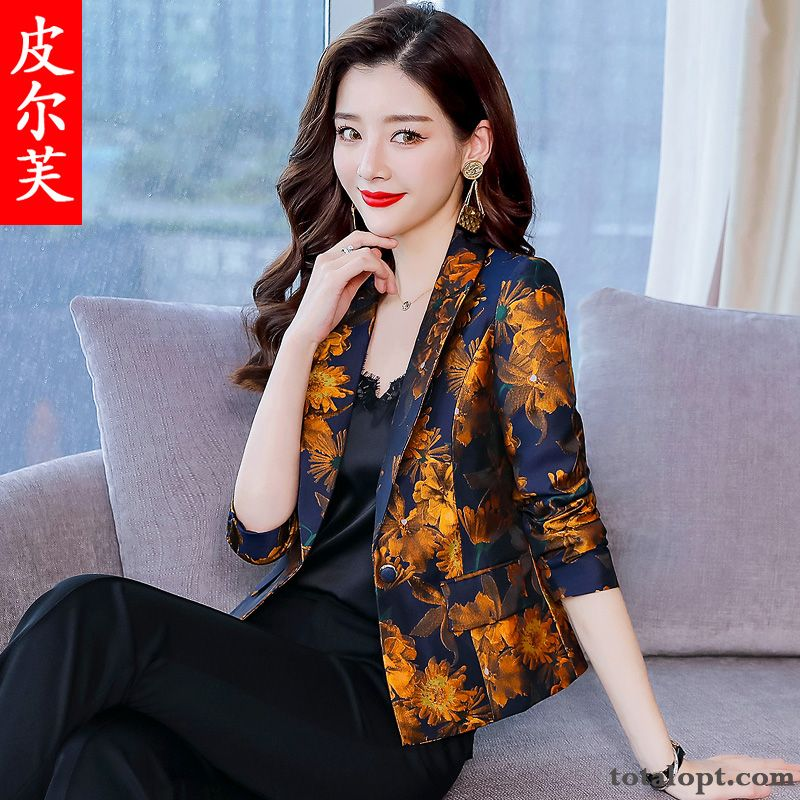 Cheap Suit Women's Printing Leisure Gold Temperament Professional Flower Autumn Short Spring New Slim Long Sleeves Coat Coral Azure