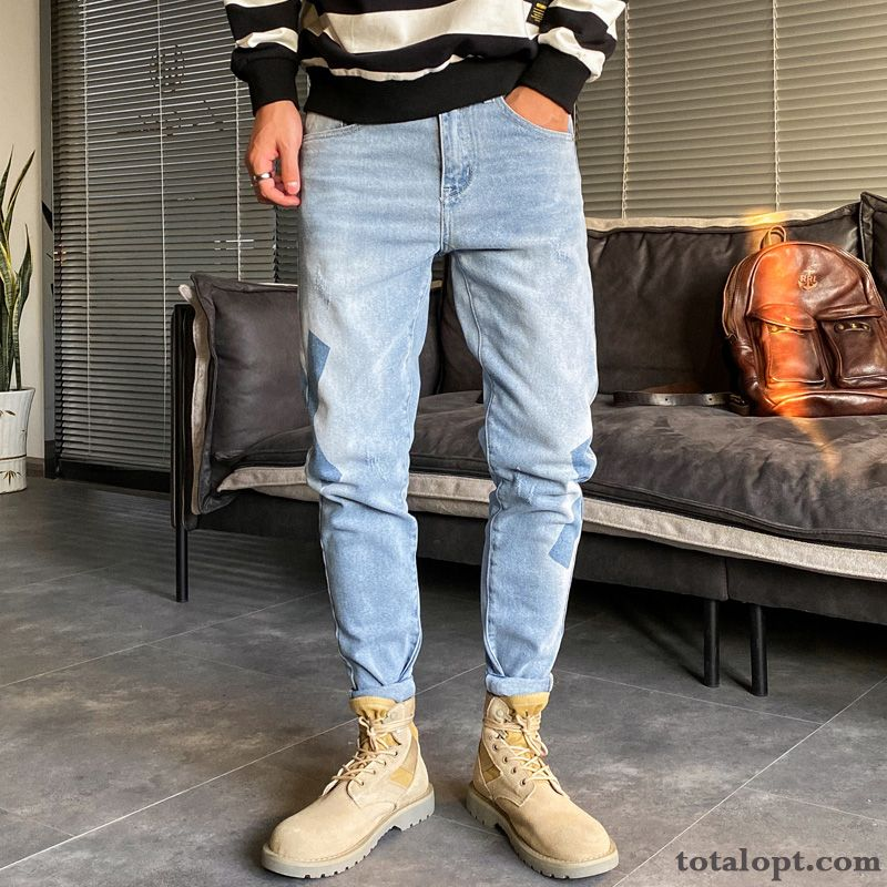 Cheap Summer Loose All-match Trend Blue Jeans Slim Light New Men's Europe Ninth Pants Elasticity Blue Snowy White