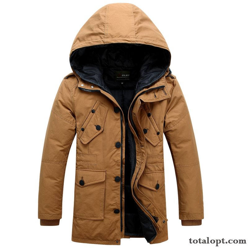 Cheap Thickening Hooded Winter Coat Long Section Big Down Jacket Clearance Sale Men's Special Offer Orange Sallow