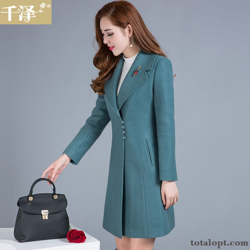 Cheap Thickening Overcoat Long Section Women's Wool Slim Winter New Europe Oyster White Lawngreen