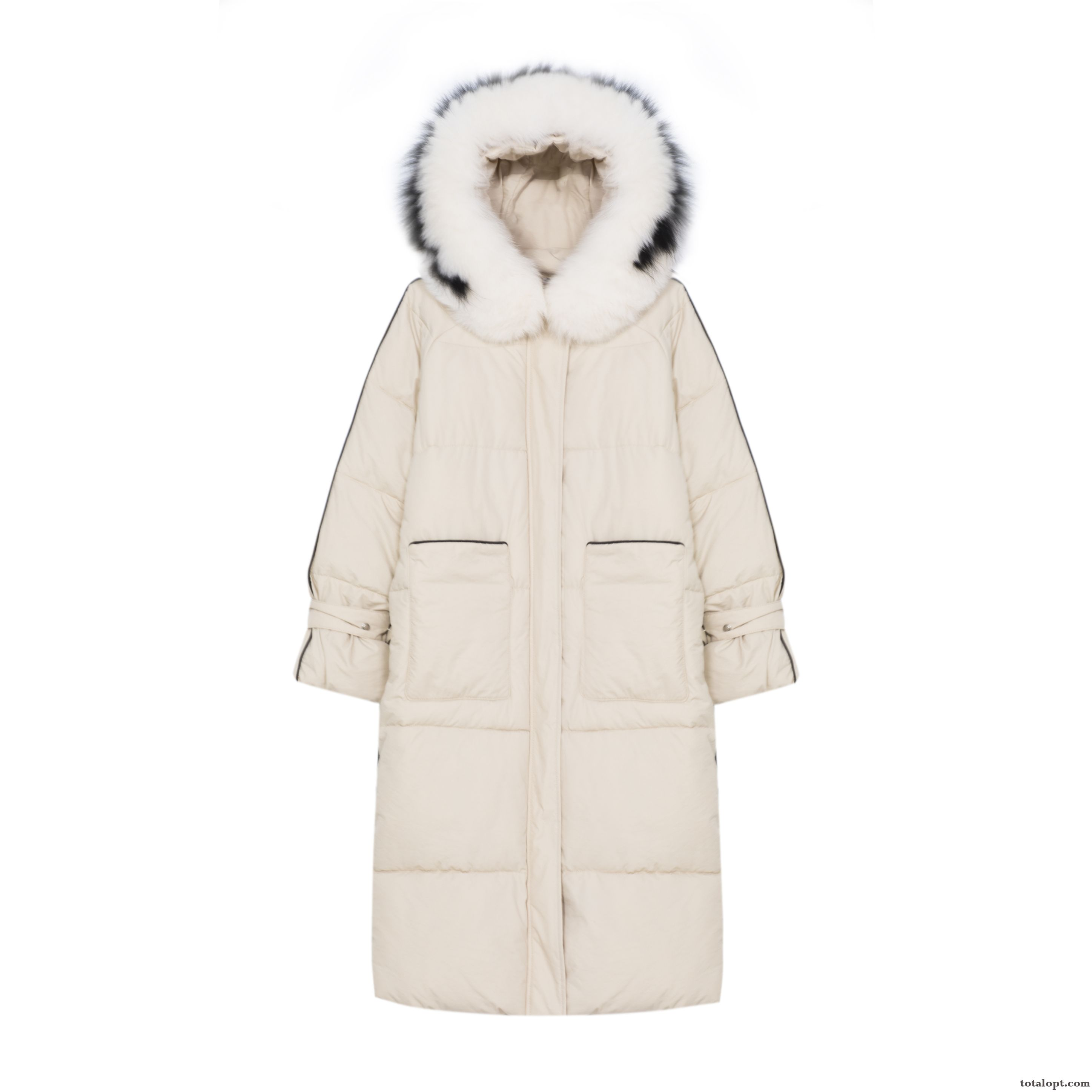 Cheap Thickening Student Winter Clothes Women's Loose Big New Long Section Europe Cotton-padded White Mauve Pure White