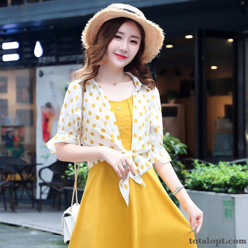 Cheap Thin Cotton Popular Two-piece Suit Summer New Women's Camisole Temperament Yellowgreen Earth Yellow