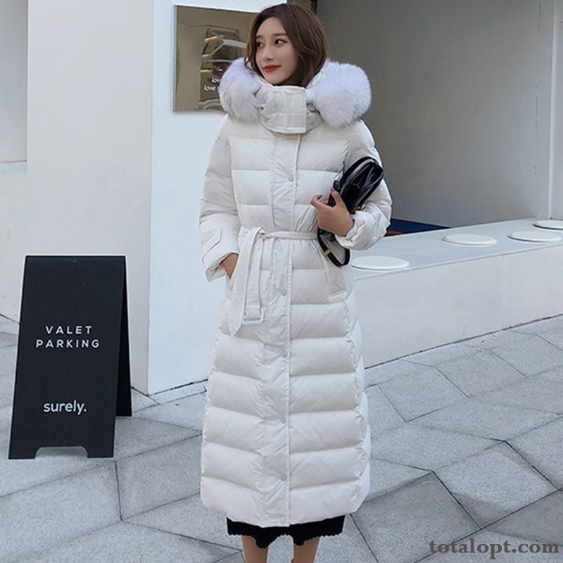 Cheap Thin White Thickening Women's Long Section Down Jacket Duck Down Hooded Winter Clothes Europe Coat Fur Collar New Greenyellow Pale Purple