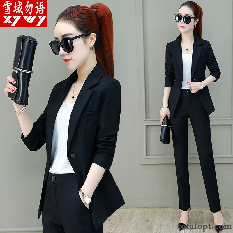 Cheap Tooling Suit Fashion Autumn Black New Trend Women's Two-piece Suit Coat Spring Dull Black Turquoise Blue