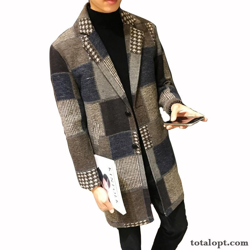 Cheap Trend Brown Long Section Coat Overcoat Men's Autumn New Winter Slim Europe Woolen Checks Youth Lilac Coffee
