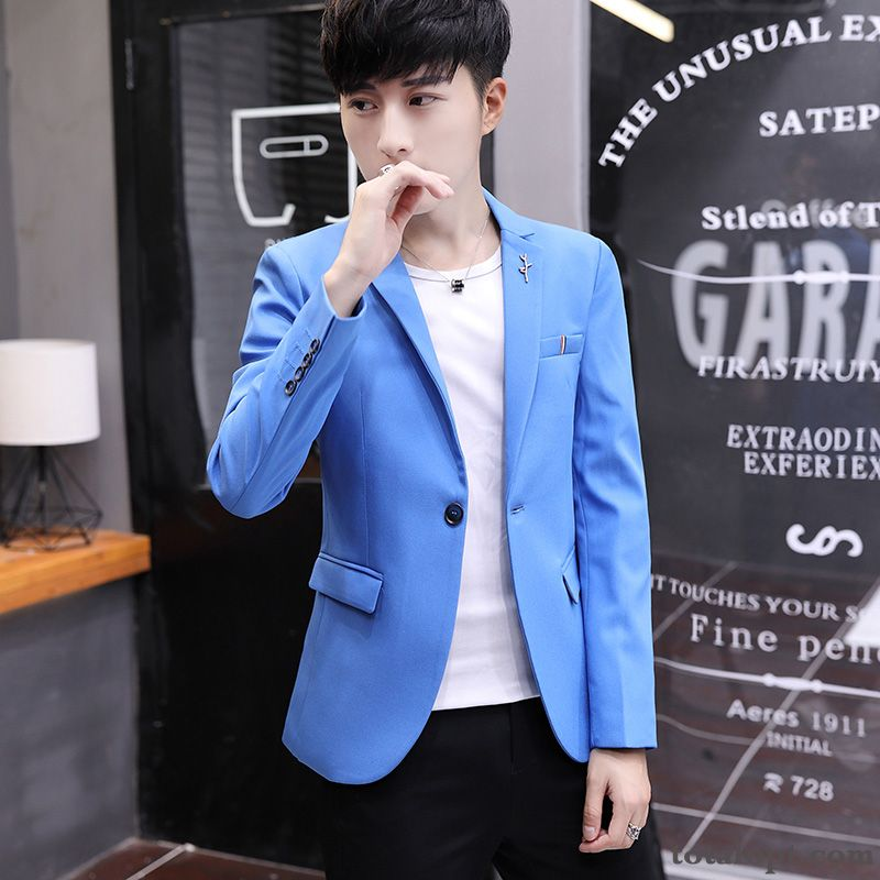 Cheap Trend New Slim Spring Leisure Coat Europe Men's Suit Youth Blue Khaki Snow-white