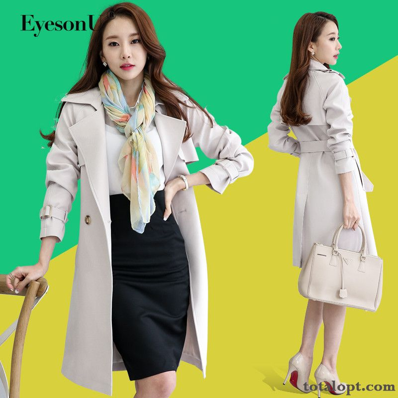 Cheap White Women's Autumn Thin New Coat Pure Slim Long Section Pearl White Rose