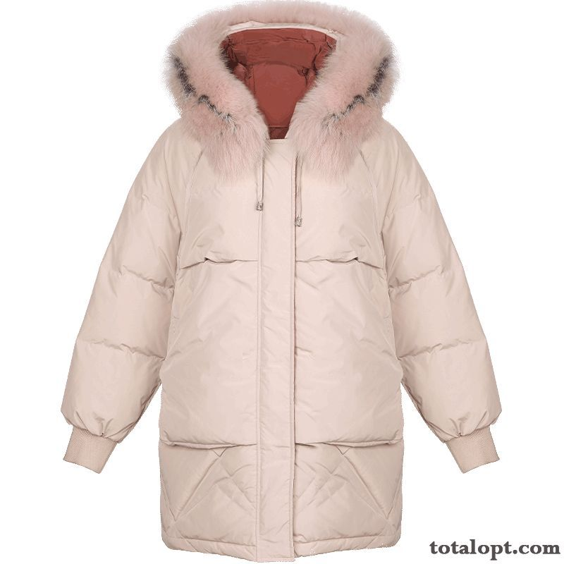 Cheap Winter Big Fur Collar Europe Down Jacket Long Sleeves Earth Yellow Nude