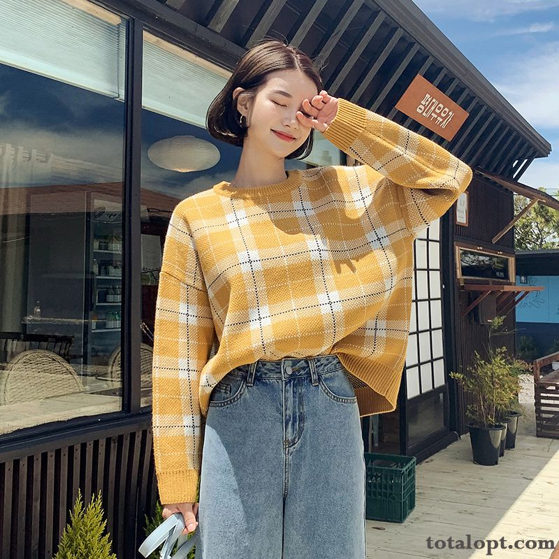 Cheap Women's New Coat Sweater Trend All-match Loose Autumn Chocolate Lavender