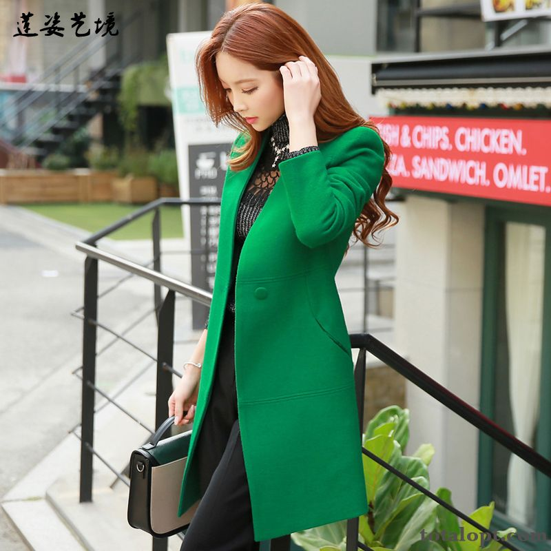 Cheap Women's Overcoat Autumn Winter Thin Fashion Professional Woolen Long New Slim Garnet White