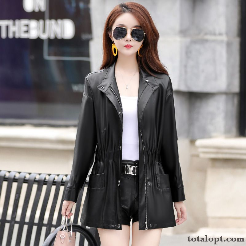 Cheap Women's Stand Collar Thin Loose Coat Leather Black Long Section Large Size Autumn Spring New Europe Azure Salmon