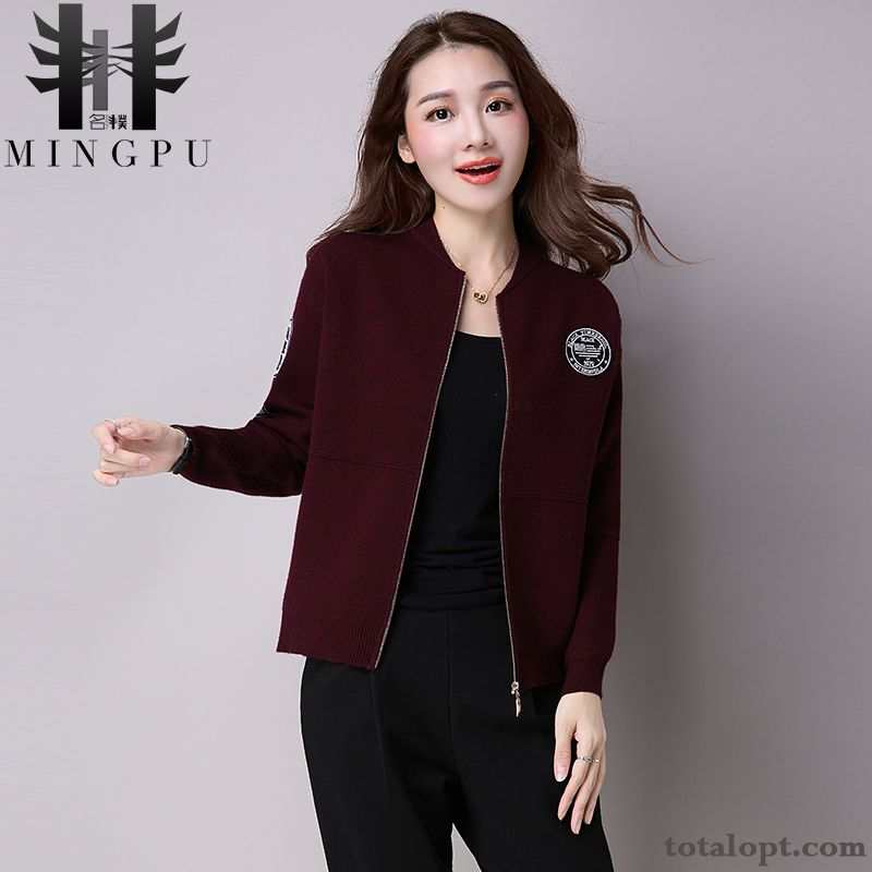 Cheap Women's Winter Autumn Shorts New Coat Cardigan Knitwear Sweater Europe Red Sienna