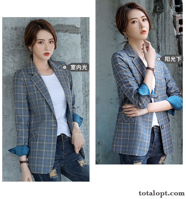 Checks England Leisure Spring Coat Retro Suit Autumn Blue New Women's Europe Red Navy Blue Purple