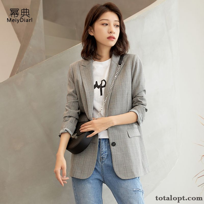Checks Loose Gray Spring Blazer Retro New Coat Suit Leisure England Women's Autumn Cyan Khaki For Sale
