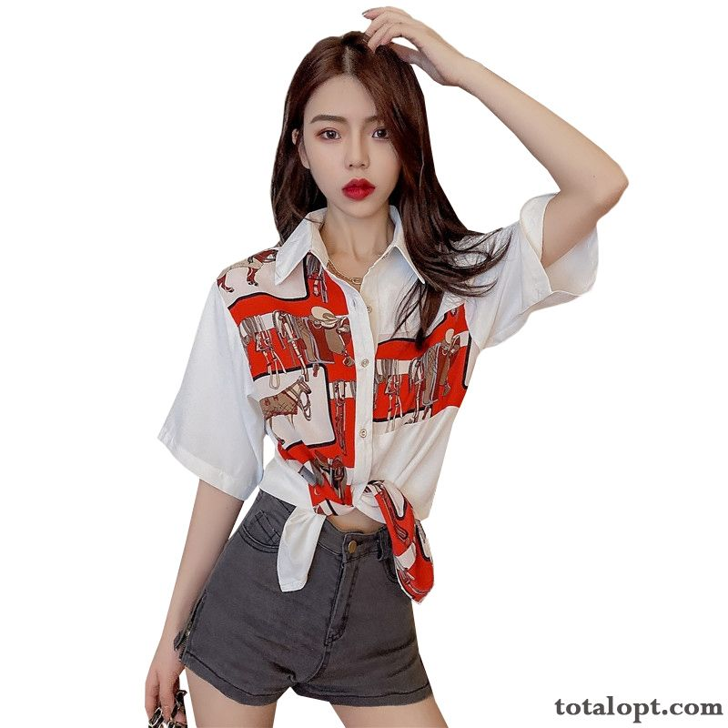 Chiffon Retro White Flower Summer Printing Shirt Shorts New Women's Loose Europe Design Coat Dark Red Darkkhaki Discount