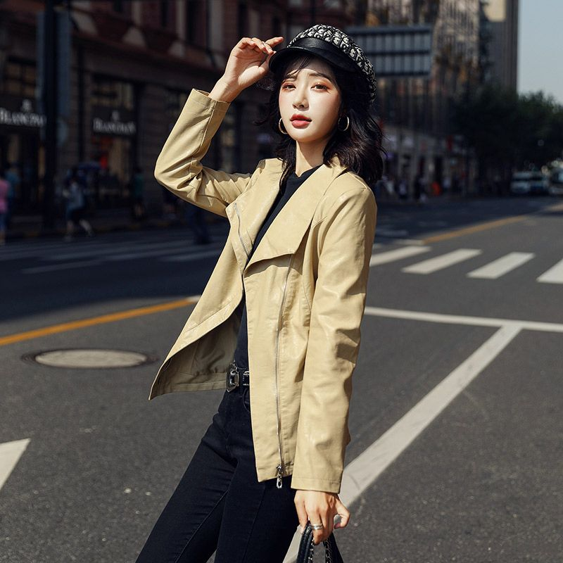 Coat All-match Trend Slim Spring Jacket Women's Leather Pu New Long Section Autumn Olive Green White Online