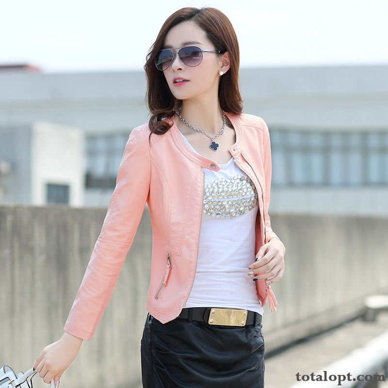 Coat Autumn Spring Thin Simple Jacket Women's Pink Europe Pu Slim Leather New Short Fashion Sky Blue Wheat