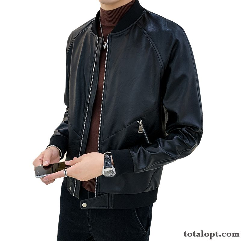 Coat Big Trend Leather New Men's Spring Jacket Autumn Youth Europe Black Wheat Coral