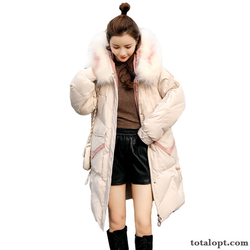 Coat Hooded Winter Mixed Colors Long Sleeves Loose White Big Fur Collar Thin Long Section Cotton Europe Fashion Yellow Green Sandy Beige Online