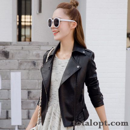 Coat Jacket Slim Short Pu New Autumn Spring Women's Thin Black Europe Leather Lady Ivory White Garnet