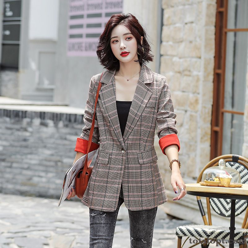 Coat Lady New Women's Suit Leisure Checks Fashion Spring Autumn Red Grey Offwhite For Sale