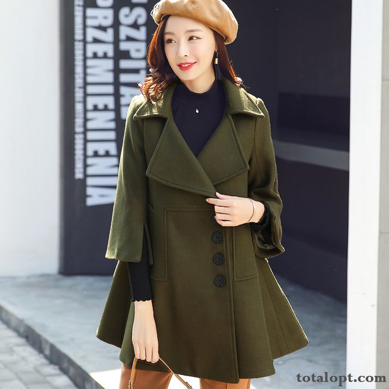 Coat Long Section New Military Green Thickening Winter Overcoat Autumn Woolen Women's Europe Trend Baby Pink Lake Discount