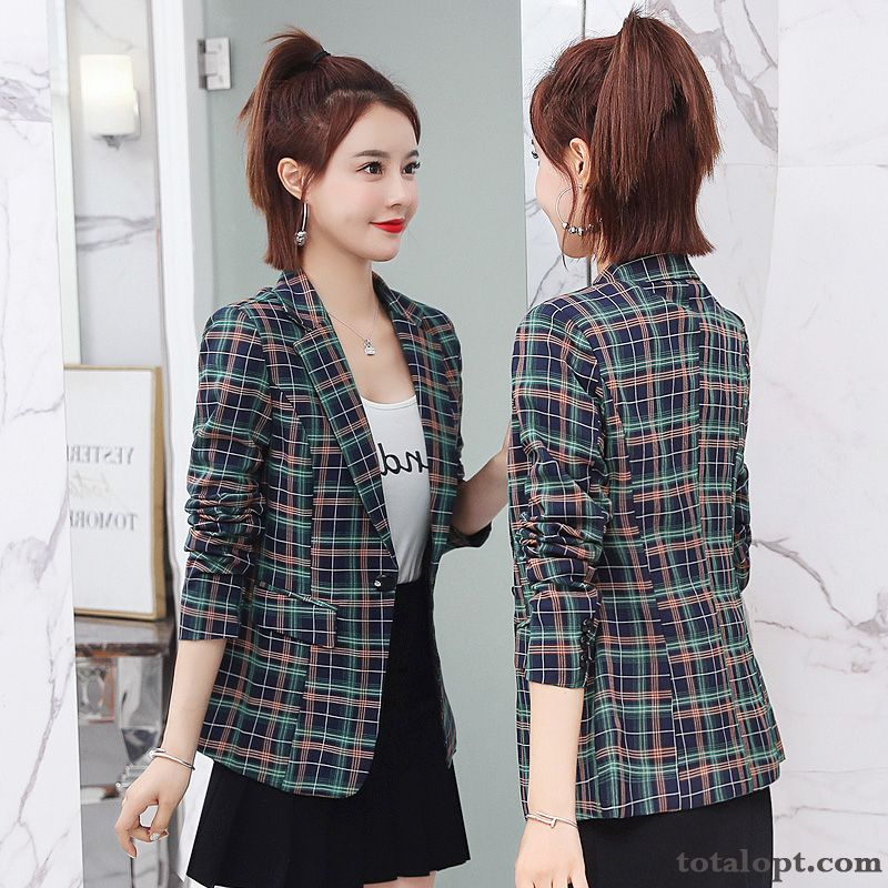 Coat Long Sleeves Checks Suit Europe Short Spring Slim Autumn Women's New Red Grape Chocolate Discount