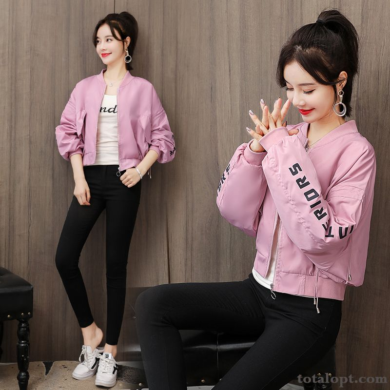 Coat Long Sleeves Jacket Spring Loose Europe Student Autumn Short Women's Pink New Garnet Yellowgreen