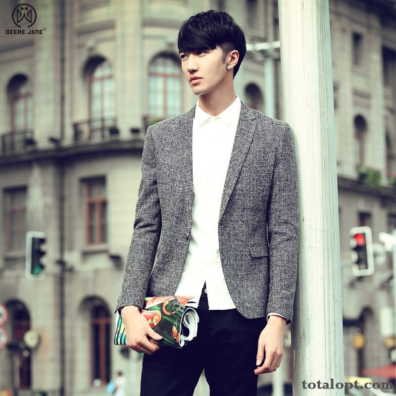 Coat Men's Youth Spring Leisure Autumn Trend Suit Europe Slim Earth Yellow Rainbow