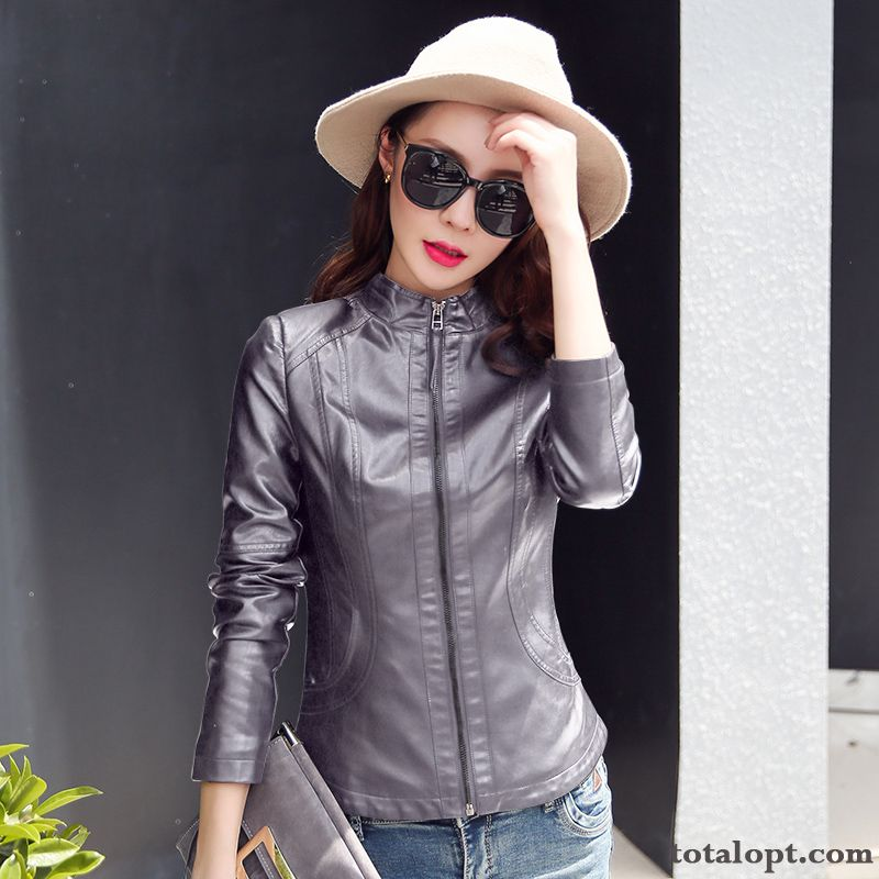 Coat New Jacket Leather Spring Short Slim Stand Collar Black Women's Autumn Saddlebrown Garnet