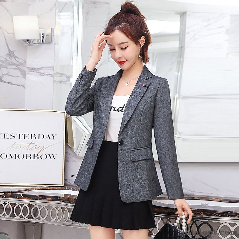 Coat Red Women's Suit Retro Spring Slim Gray Long Sleeves Europe New Shorts Dark Green Bisque Discount