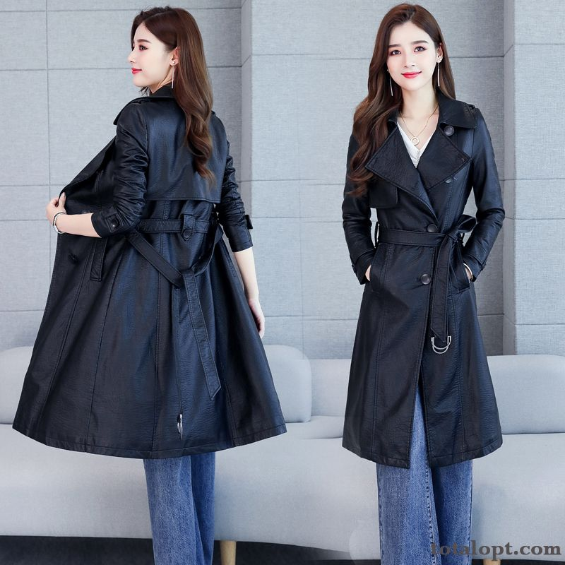 Coat Slim Europe Lady Pu Thin Leather Long Section Overcoat New Women's Black Autumn Earth Yellow Peacock Blue Discount