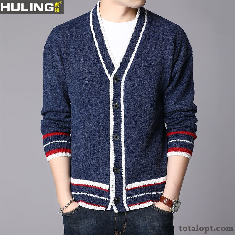 Coat Spring Button New Cardigan Knitwear Sweater Youth Men's Blue Autumn Trend Outwear Ivory Rainbow Sale
