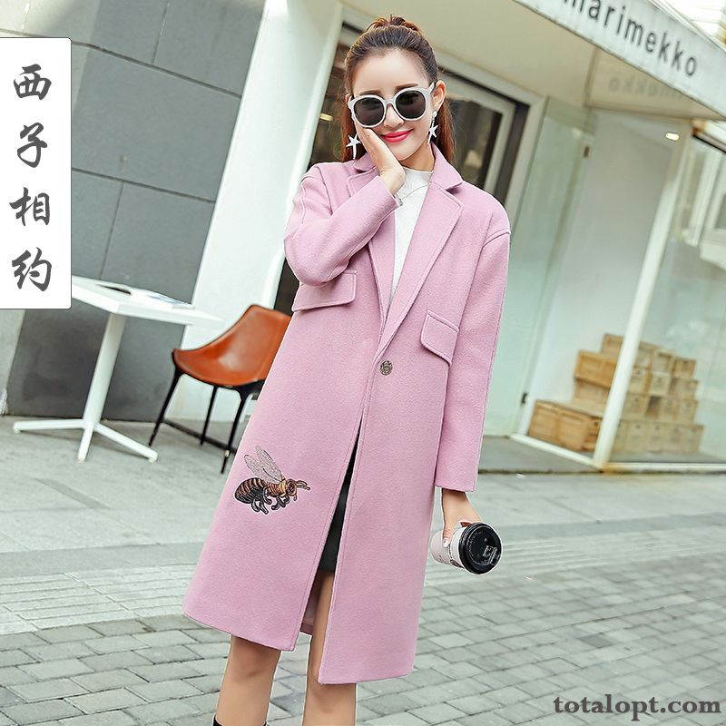 Coat Trend Overcoat Winter Clothes Wool Embroidery Long Section Women's Slim Europe New Snowy White Lake Sale