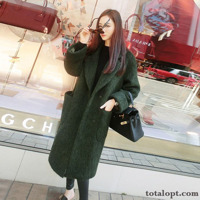 Coat Wool Women's Long Section Fashion Thin Temperament Thickening Loose New Overcoat Sienna Olive Green