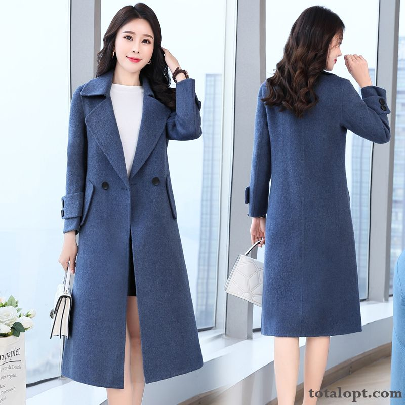 Comfortable Coat Woolen Elegant Blue Temperament Pure Personality Winter Fashion Thin All-match Autumn Ivory White Snowy White