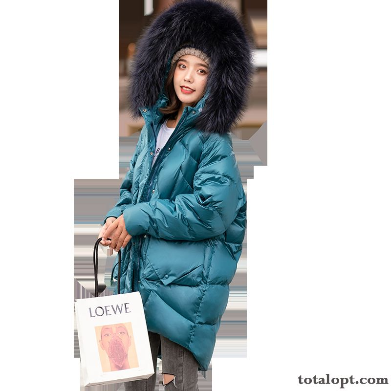 Comfortable Fur Collar Warm Pocket Long Section Down Jacket Thickening City Winter Blue Pure Fashion Leisure Lilac Cream