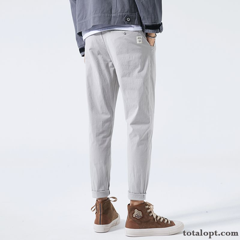 Cotton All-match Ninth Pants New Harlan Gray Straight Summer Men's Leisure Pure Loose Nude Maroon