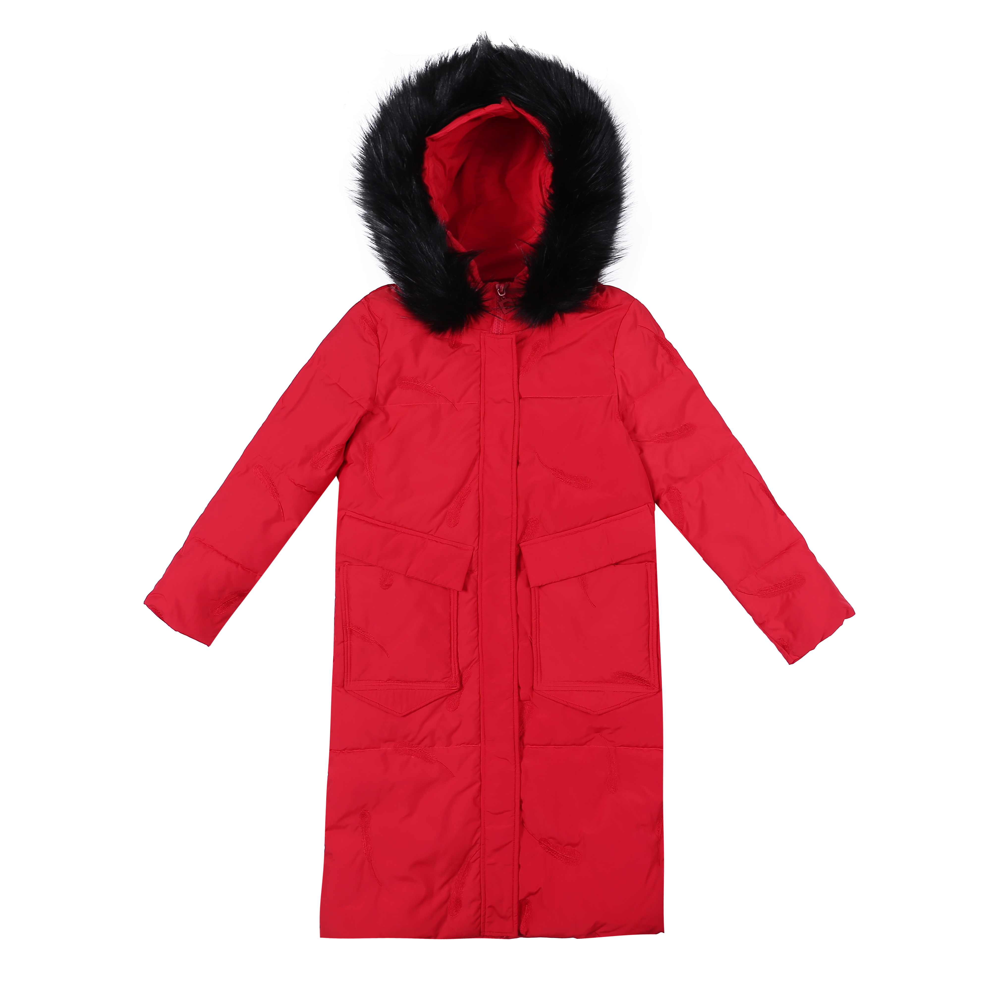 Cotton Leisure New Fashion Cotton-padded Thickening Red Coat Europe Women's Loose Long Section Pink Azure