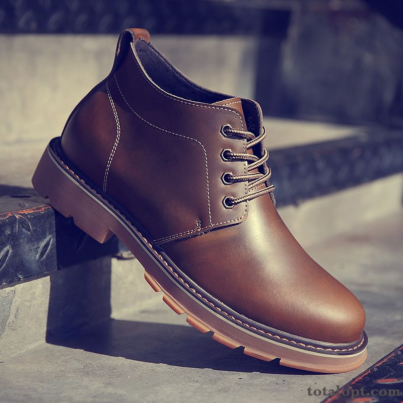 Cotton Shoes Martin Boots Casual Leather Shoes New Winter Trend Brown Spring Men's High Top Tea Green Sallow