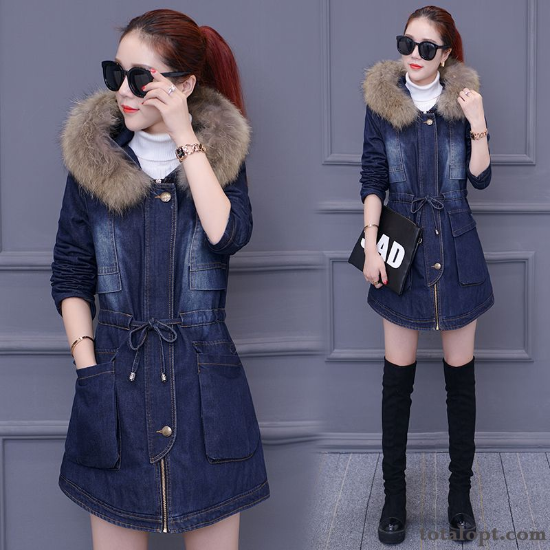 Cotton Slim Winter Autumn Big Fur Collar Coat Trend Europe Thickening New Women's Long Section Oyster White Azure Online