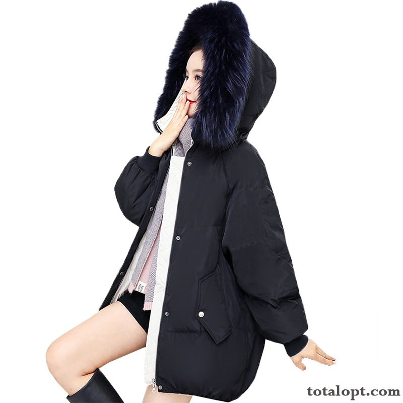 Down Jacket New Europe Loose Thickening Big Fur Collar Winter Women's Black Coat Long Section Rosybrown Snowy White Discount