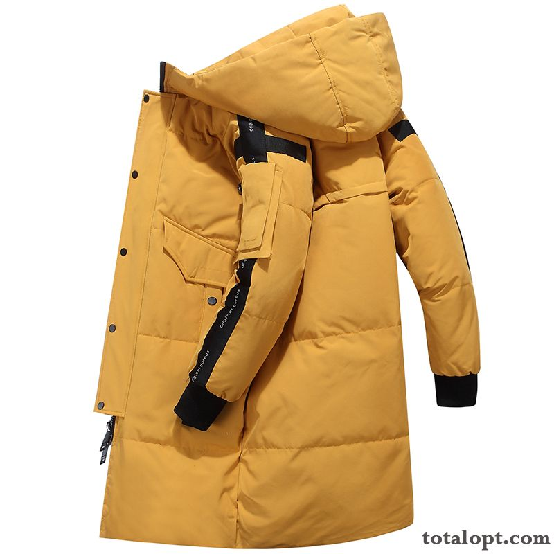 Down Jacket Trend Warm Winter Long Section Coat Youth New White Men's Hooded Duck Down Cotton Iridescent Bisque Discount