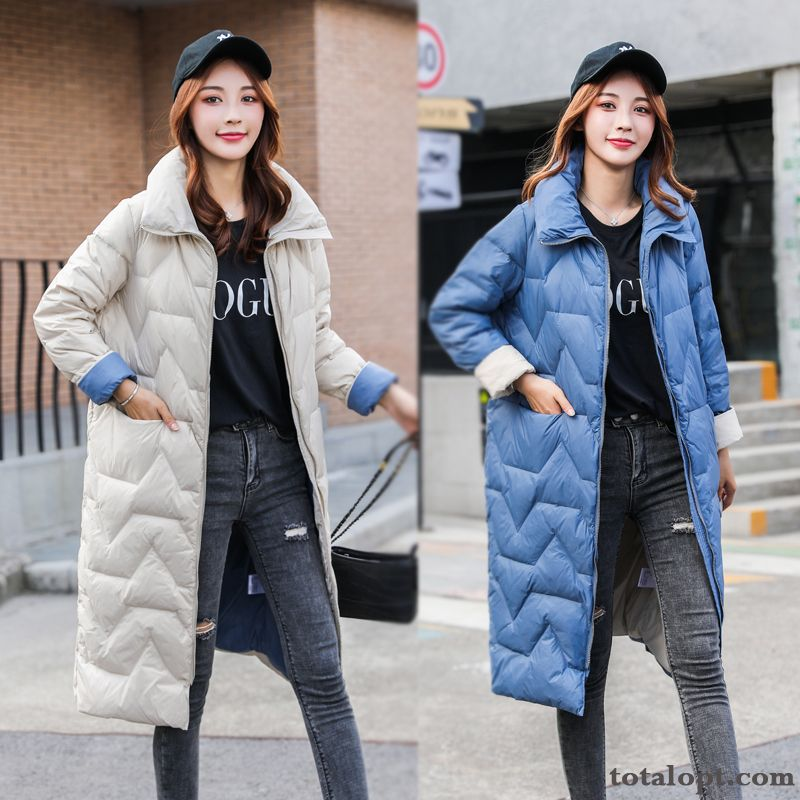 Down Jacket Trend Winter Blue Long Section Retro Personality Pocket Winter Clothes Women's Light New Wheat Tomato