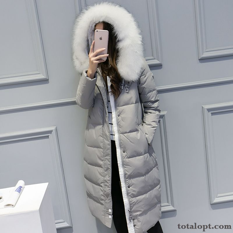 Down Jacket Trend Women's Slim Thickening Long Section New Big Fur Collar Lady Plus Length Loose Winered Salmon