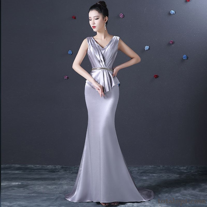 Dress Long Section Elegant Women's Winter Noble Temperament Fishtail New Offwhite Yellowgreen Discount