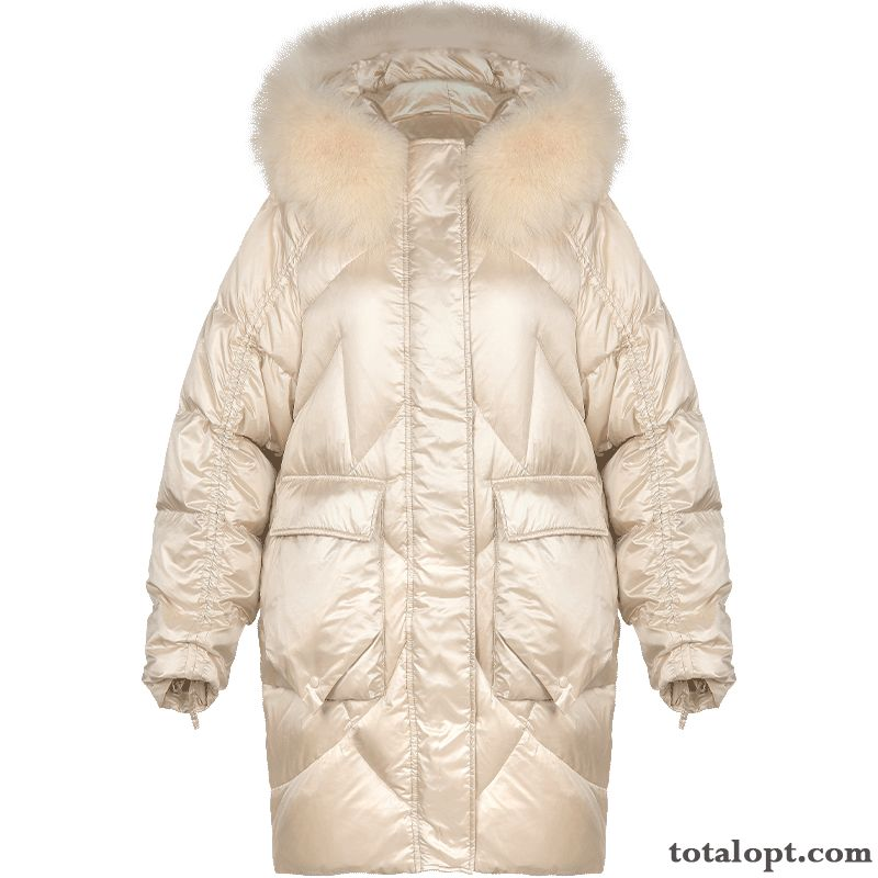 Duck Down White Women's Pure Down Jacket Fur Collar Big Fur Collar Olive Green Dark Green Online